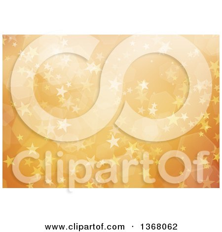 Clipart of a Christmas Background of Bokeh Flares and Stars on Orange - Royalty Free Illustration by KJ Pargeter