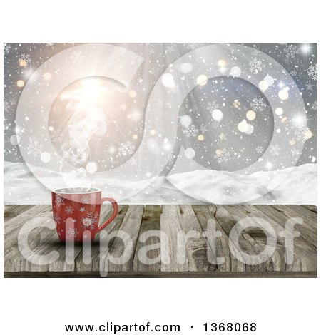 Clipart of a 3d Red Snowflake Hot Cup of Coffee on a Wood Table over a Snowy Landscape - Royalty Free Illustration by KJ Pargeter