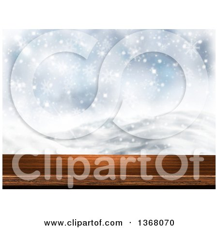 Clipart of a 3d Wooden Deck or Table with a Blurred View of a Snowy Winter Landscape - Royalty Free Illustration by KJ Pargeter