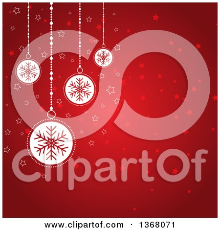 Clipart of a Christmas Background of White Snowflake Baubles over Red with Stars - Royalty Free Vector Illustration by KJ Pargeter