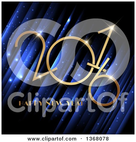 Clipart of a Gold Happy New Year 2016 Greeting over Blue Stripes and Sparkles - Royalty Free Vector Illustration by KJ Pargeter