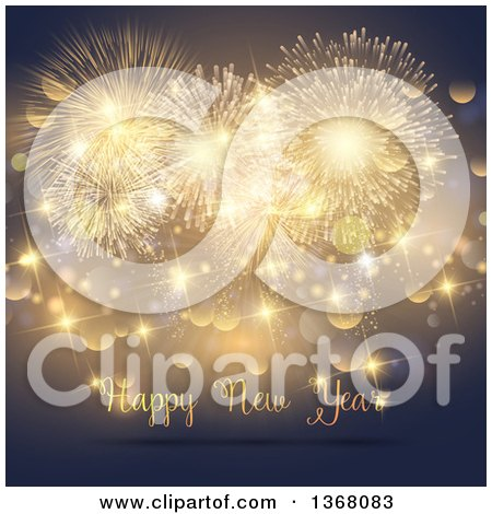 Clipart of a Happy New Year Greeting Under Gold Fireworks, Sparkles and Bokeh - Royalty Free Vector Illustration by KJ Pargeter