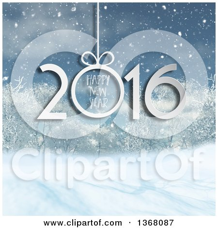Clipart of a Happy New Year 2016 Greeting over a 3d Winter Forest - Royalty Free Illustration by KJ Pargeter