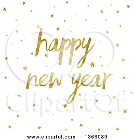 Clipart of a Gold Happy New Year Greeting and Stars on White - Royalty Free Illustration by KJ Pargeter