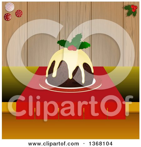 Clipart of a Christmas Pudding Garnished with Holly on a Table, over Wood - Royalty Free Vector Illustration by elaineitalia