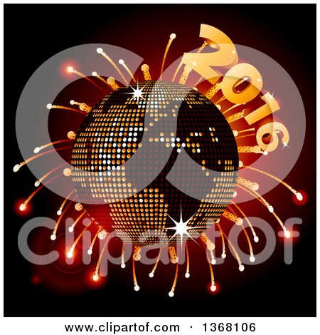 Clipart of a 3d Sparkly Earth Disco Ball with Fireworks and 2016 - Royalty Free Vector Illustration by elaineitalia