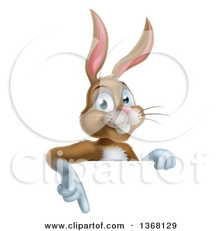 Clipart of a Happy Brown Easter Bunny Rabbit Pointing down over a Sign - Royalty Free Vector Illustration by AtStockIllustration