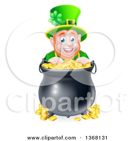 Clipart Of A Cartoon Friendly St Patricks Day Leprechaun Smiling Over A Pot Of Gold Royalty Free Vector Illustration