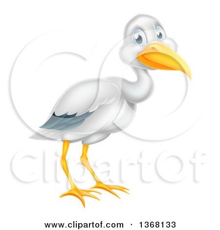Clipart of a Happy Stork Bird - Royalty Free Vector Illustration by AtStockIllustration