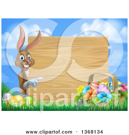 Clipart of a Brown Easter Bunny Rabbit with Eggs and a Basket, Pointing Around a Blank Wood Sign Against Sky - Royalty Free Vector Illustration by AtStockIllustration