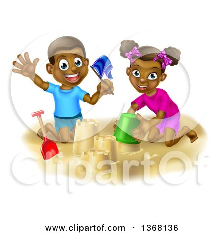 Clipart Of A Happy Black Boy And Girl Playing And Making Sand Castles On A Beach Royalty Free Vector Illustration