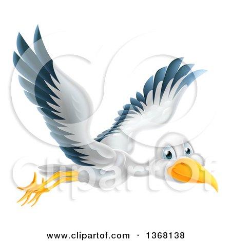 Clipart of a Stork Bird in Flight - Royalty Free Vector Illustration by AtStockIllustration