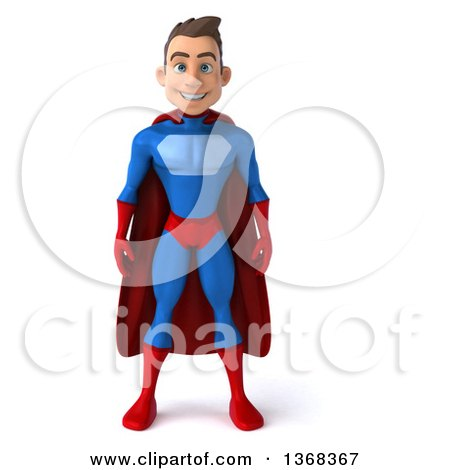 Clipart of a 3d Young Brunette White Male Super Hero in a Blue and Red Suit, on a White Background - Royalty Free Illustration by Julos