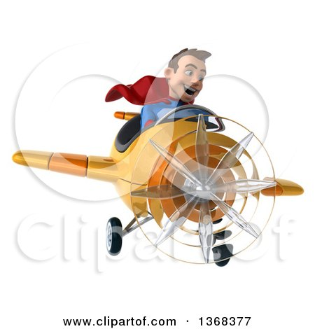 Clipart of a 3d Young Brunette White Male Super Hero in a Blue and Red Suit, Flying an Airplane, on a White Background - Royalty Free Illustration by Julos