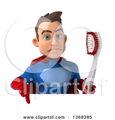 Clipart of a 3d Young Brunette White Male Super Hero in a Blue and Red Suit, Holding a Giant Toothbrush over a Sign, on a White Background - Royalty Free Illustration by Julos