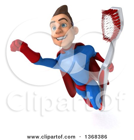 Clipart of a 3d Young Brunette White Male Super Hero in a Blue and Red Suit, Holding a Giant Toothbrush, on a White Background - Royalty Free Illustration by Julos
