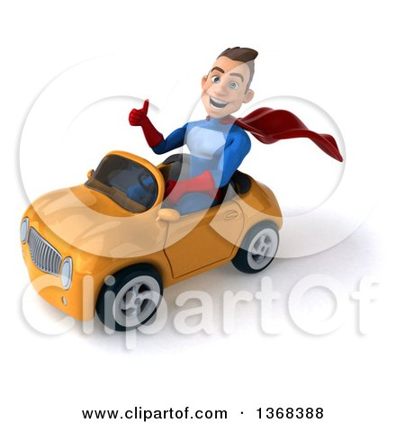 Clipart of a 3d Young Brunette White Male Super Hero in a Blue and Red Suit, Driving a Convertible Car, on a White Background - Royalty Free Illustration by Julos