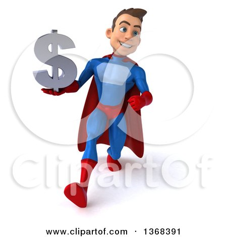 Clipart of a 3d Young Brunette White Male Super Hero in a Blue and Red Suit, Holding a Dollar Symbol, on a White Background - Royalty Free Illustration by Julos