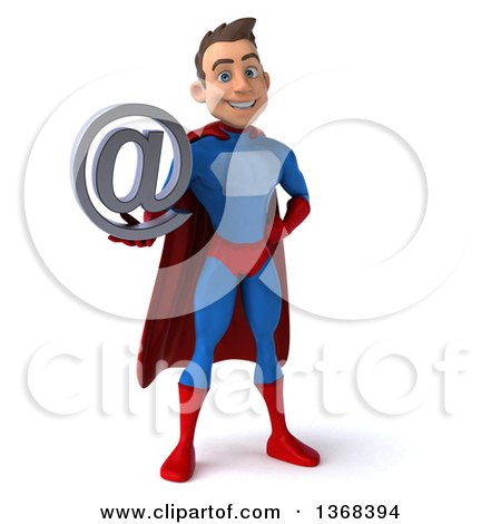 Clipart of a 3d Young Brunette White Male Super Hero in a Blue and Red Suit, Holding an Email Arobase at Symbol, on a White Background - Royalty Free Illustration by Julos