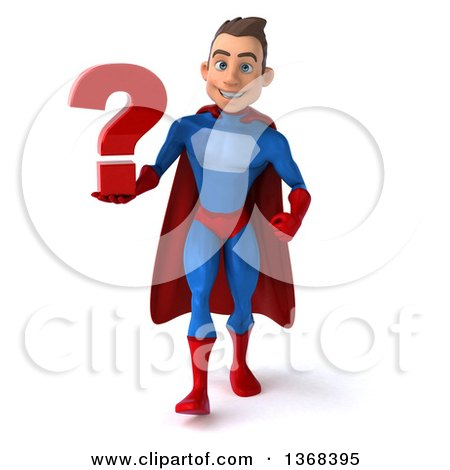 Clipart of a 3d Young Brunette White Male Super Hero in a Blue and Red Suit, Holding a Question Mark, on a White Background - Royalty Free Illustration by Julos