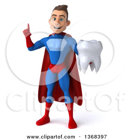 Clipart of a 3d Young Brunette White Male Super Hero in a Blue and Red Suit, Holding a Tooth, on a White Background - Royalty Free Illustration by Julos