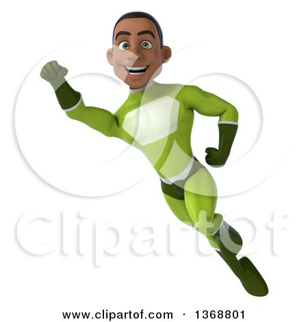 Clipart of a 3d Young Black Male Super Hero in a Green Suit, Flying, on a White Background - Royalty Free Illustration by Julos