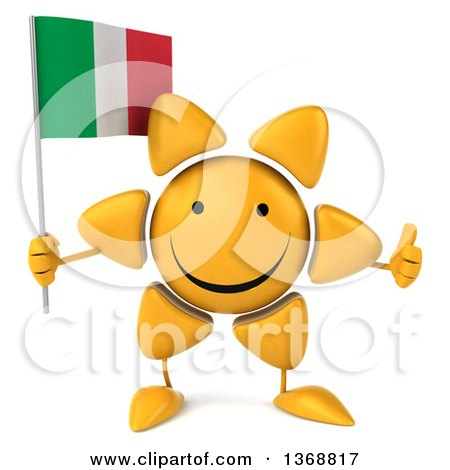 Clipart of a 3d Sun Character Holding an Italian Flag, on a White Background - Royalty Free Illustration by Julos