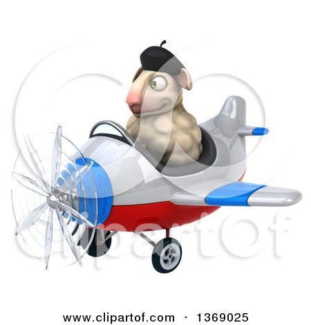 Clipart of a 3d French Sheep Flying a Plane, on a White Background ...