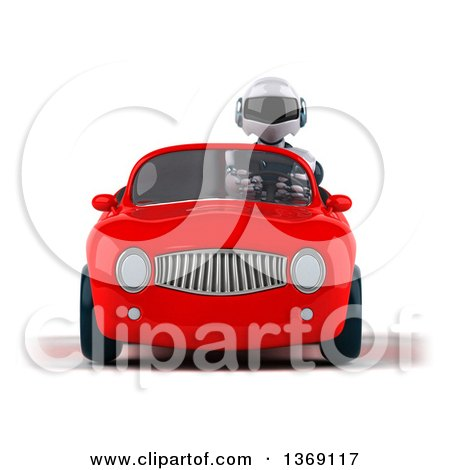 Clipart of a 3d White and Blue Robot Driving a Convertible Car, on a White Background - Royalty Free Illustration by Julos