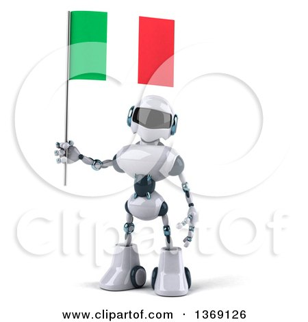 Clipart of a 3d White and Blue Robot Holding an Italian Flag, on a White Background - Royalty Free Illustration by Julos