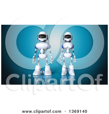 Clipart of a 3d White and Blue Robot Couple, on a Blue Background - Royalty Free Illustration by Julos