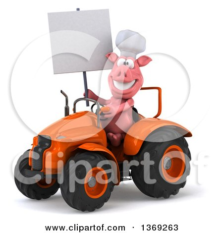 Clipart of a 3d Chef Pig Operating an Orange Tractor, on a White Background - Royalty Free Illustration by Julos