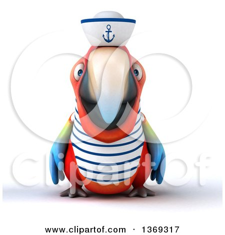 Clipart of a 3d Scarlet Macaw Parrot Sailor, on a White Background - Royalty Free Illustration by Julos