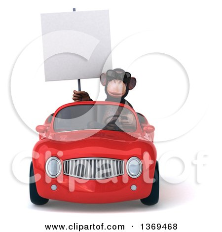 Clipart of a 3d Chimpanzee Monkey Driving a Red Convertible Car, on a White Background, on a White Background - Royalty Free Illustration by Julos