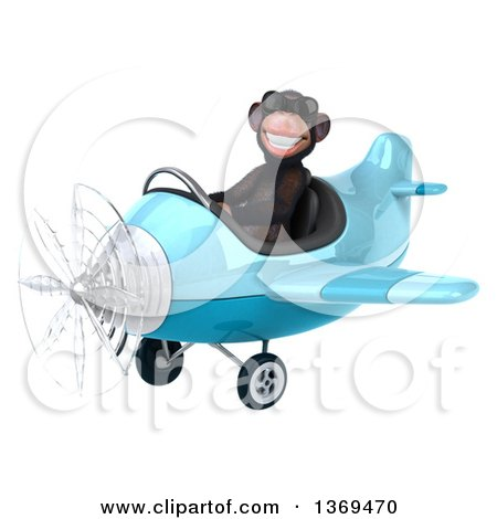 Clipart of a 3d Chimpanzee Monkey Aviator Pilot Wearing Sunglasses and Flying a Blue Airplane, on a White Background - Royalty Free Illustration by Julos