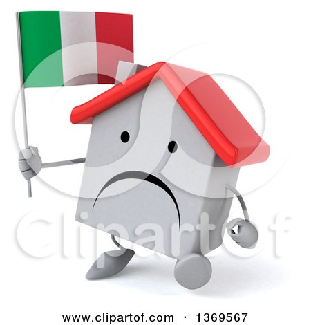 Clipart of a 3d White Home Character Holding an Italian Flag, on a White Background - Royalty Free Illustration by Julos