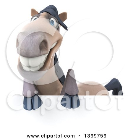 Clipart of a 3d Happy Beige Horse, on a White Background - Royalty Free Illustration by Julos