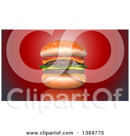 Clipart of a 3d Juicy Double Cheeseburger on a Red Background - Royalty Free Illustration by Julos