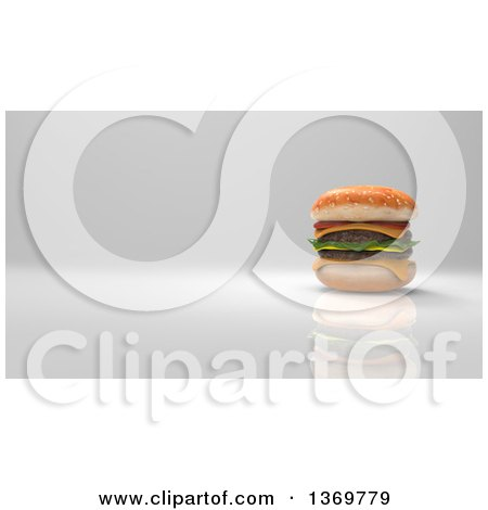 Clipart of a 3d Juicy Double Cheeseburger on a Gray Background - Royalty Free Illustration by Julos