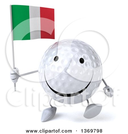 Clipart of a 3d Happy Golf Ball Character Holding an Italian Flag, on a White Background - Royalty Free Illustration by Julos