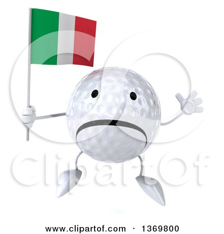 Clipart of a 3d Unhappy Golf Ball Character Holding an Italian Flag, on a White Background - Royalty Free Illustration by Julos