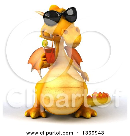 3d Yellow Dragon Drinking Tea, on a White Background Posters, Art Prints