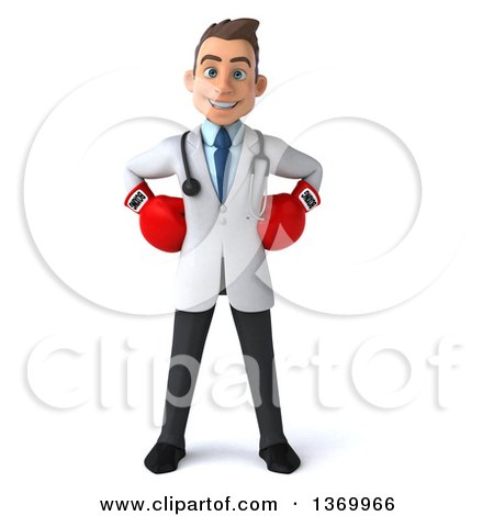 Clipart of a 3d Young White Male Doctor Wearing Boxing Gloves, on a White Background - Royalty Free Illustration by Julos