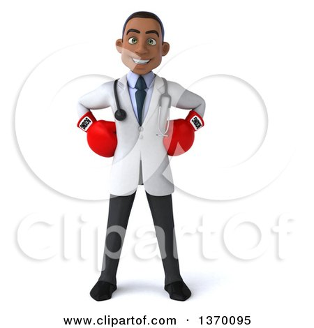Clipart of a 3d Young Black Male Doctor Wearing Boxing Gloves, on a White Background - Royalty Free Illustration by Julos