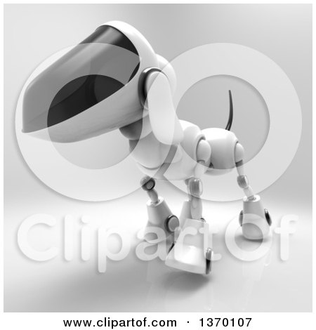 Clipart of a 3d Robot Dog, on a Gray Background - Royalty Free Illustration by Julos