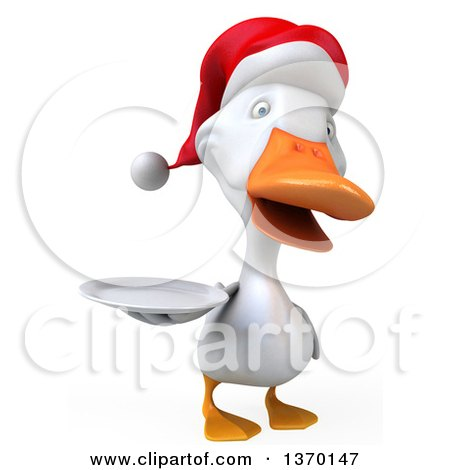Clipart of a 3d White Christmas Duck Holding a Plate, on a White Background - Royalty Free Illustration by Julos