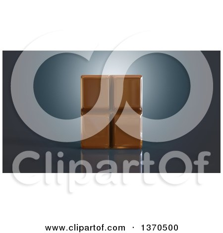 Clipart of a 3d Chocolate Bar, on a Blue Background - Royalty Free Illustration by Julos