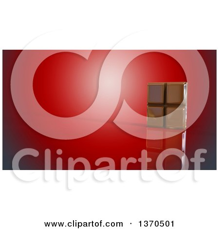 Clipart of a 3d Chocolate Bar, on a Red Background - Royalty Free Illustration by Julos