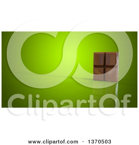 Clipart of a 3d Chocolate Bar, on a Green Background - Royalty Free Illustration by Julos