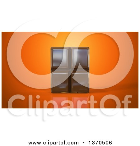 Clipart of a 3d Chocolate Bar, on an Orange Background - Royalty Free Illustration by Julos